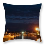 Bass Harbor At Night Throw Pillow