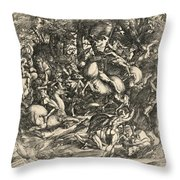 Battle Of Nude Men Throw Pillow