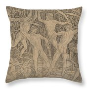 Battle Of The Nudes Throw Pillow