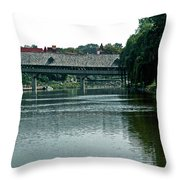Bavarian Covered Bridge Throw Pillow