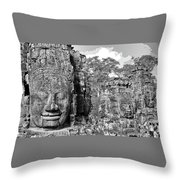 Bayon Faces  Throw Pillow