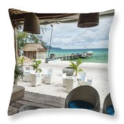 Beach Bar In Sok San Area Of Koh Rong Island Cambodia Throw Pillow