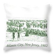 Beach, Bathers, Ocean, Atlantic City, New Jersey, 1902 Throw Pillow