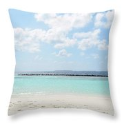 Beach On An Island In The Maldives With Turquoise Water Throw Pillow