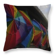 Beach Umbrella Row Throw Pillow