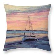 Beached At Sunset Throw Pillow