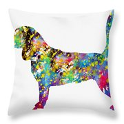 Beagle-colorful Throw Pillow