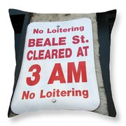 Beale Street Sign Throw Pillow