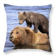 Bear Back Rider Throw Pillow