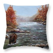 Bear In Fall Throw Pillow