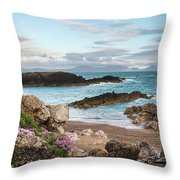 Beautiful Landscape Image Of Rocky Beach With Snowdonia Mountain Throw Pillow