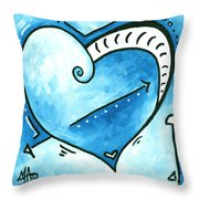 Beautiful Original Acrylic Heart Painting From The Pop Of Love Collection By Madart Throw Pillow