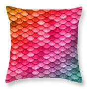 Beautiful Pastel Diagonal Rainbow Spectrum II Mermaid Fish Scales Throw Pillow