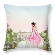 Beautiful Victorian Woman In The Garden Throw Pillow