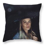 Beautiful Woman At Rainy Night Throw Pillow
