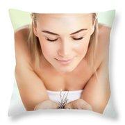 Beautiful Woman At Spa Salon Throw Pillow