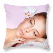 Beautiful Woman Face Throw Pillow