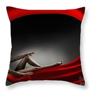 Beautiful Woman In A Whirl Of Power Throw Pillow