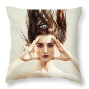 Beautiful Woman With Windswept Hair Throw Pillow