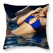 Beautiful Young Woman In Blue Bikini Throw Pillow