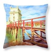 Belem Tower Lisbon Throw Pillow