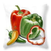 Bell Peppers Jalapeno Throw Pillow