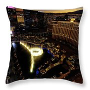 Bellagio Hotel Fountain, Las Vegas Throw Pillow