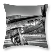 Betty Jane P51d Mustang At Livermomre Throw Pillow