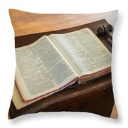 Bible And Gavel Throw Pillow