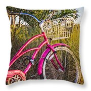Bicycle At The Beach II Throw Pillow