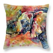 Big Colorful Elephant Throw Pillow