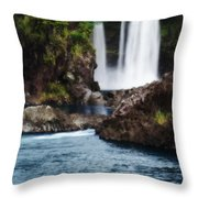 Big Island Waterfall Throw Pillow