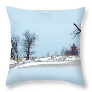 Big Red Lighthouse - View 1 Throw Pillow