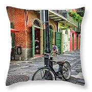 Bike And Lamppost In Pirate's Alley Throw Pillow