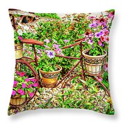 Bike Blossoms Throw Pillow