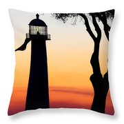 Biloxi Lighthouse At Dusk Throw Pillow