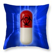 Biohazard Symbol On Capsule Throw Pillow