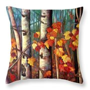 Birch And Maple Throw Pillow