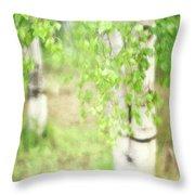 Birch In Spring Throw Pillow
