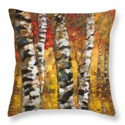 Birch Trees In Golden Fall Throw Pillow