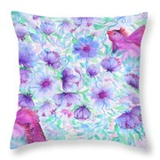 Bird And Flowers Throw Pillow