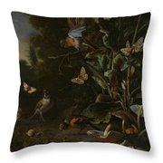 Birds Butterflies And A Frog Among Plants And Fungi Throw Pillow