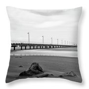 Black And White Image Of Shorncliffe Pier Throw Pillow