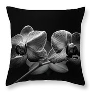 Black And White Orchids Throw Pillow