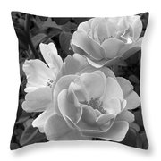 Black And White Roses 2 Throw Pillow