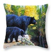 Black Bear And Cub Throw Pillow