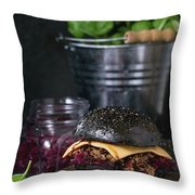 Black Burger With Stews Throw Pillow