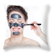 Black Charcoal Mask Application On Beautiful Woman. Throw Pillow