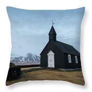 Black Church Of Budir, Iceland Throw Pillow