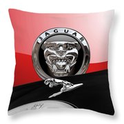 Black Jaguar - Hood Ornaments And 3 D Badge On Red Throw Pillow by Serge Averbukh